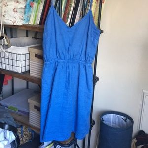 Blue Linen Summer Mini Dress J.Crew Factory